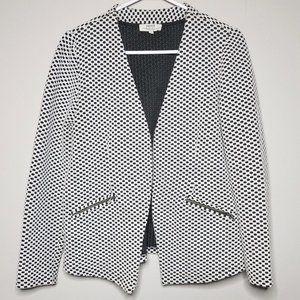 PAPAYA / Black & White Pattern Casual Open Blazer